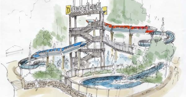Monorail-themed waterslide for Disneyland Hotel