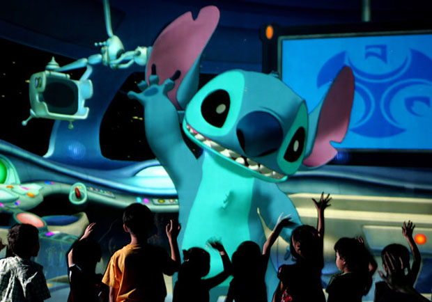Joe worked on two Stitch Encounter attractions, in Paris (pictured) and Hong Kong