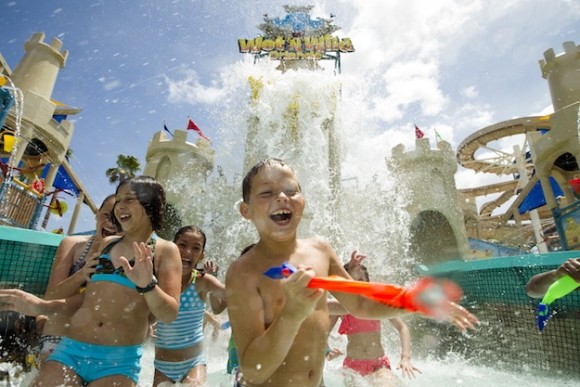 On June 2, 2012, Wet 'n Wild Orlando celebrated the grand opening of its newest attraction, Blastaway Beach - a family-friendly, sandcastle-themed water playground. It is the largest water playground of its kind in Florida and Wet 'n Wild's first new attraction in over four years. Built around a sandcastle rising 60-feet high, Blastaway Beach spans an acre and features 15 slides and expands across two pools with 160 soakers, jets, waterfalls and water cannons. Photo Wet 'n Wild Orlando