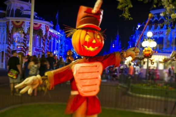 "This artful Jack-O-Lantern bandleader strikes up a few frightfully fun tunes on Main Street, U.S.A. in the Magic Kingdom. It's all part of the decorations in place for Mickey's Not-So-Scary Halloween Party held annually at the theme park. The family-friendly after-hours event offers trick-or-treating, meet and greets with favorite characters in costume, plus the must-see ""Mickey's Boo-to-You Halloween Parade"" and ""Happy HalloWishes"" fireworks display. Mickey's Not-So-Scary Halloween Party is a special ticket event and takes place on select nights each fall at Walt Disney World Resort in Lake Buena Vista, Fla. (Ali Nasser, photographer)"