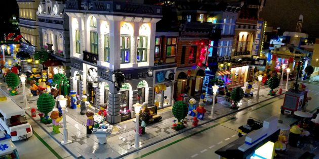 Brick City lights unveils the largest known fully LED lit Lego Brick City
